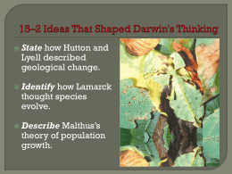 15*2 Ideas That Shaped Darwin`s Thinking