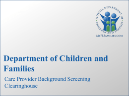 Background Screening DCF Clearinghouse