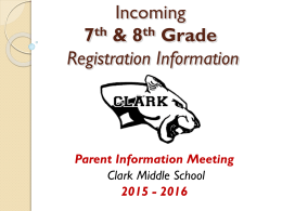 Incoming 7th grade Registration