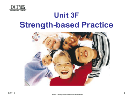 What does Strength-based practice in Child Welfare mean to
