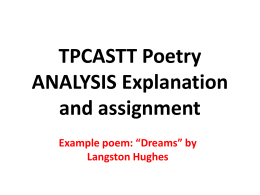 TPCASTT Poetry Analysis PowerPoint