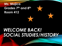 Welcome Back! Social Studies/History