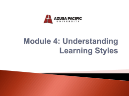 Module 4: Learning Styles