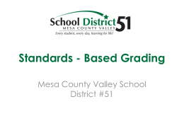 Standards - Based Grading - Mesa County Valley School District 51