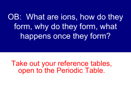 OB: What are ions, how do they form, why do they form