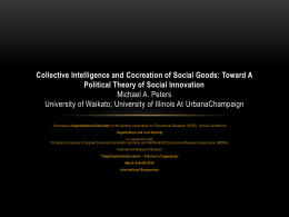 Collective Intelligence And Cocreation Of Social Goods: Toward A