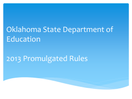 Oklahoma State Department of Education 2013