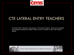 CTE Lateral Entry Teachers - GeralynHollis