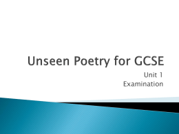 Unseen Poetry for GCSE