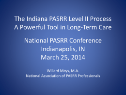 PASRR Level II as a Best Practice IN Panelist Presentation
