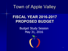 2016-2017 Budget Study Session PowerPoint