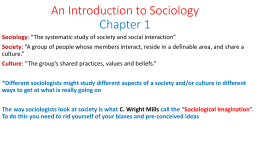An Introduction to Sociology Chapter 1