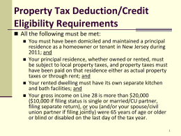 Special Situation for Property Tax Credit