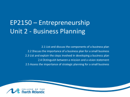 Business Planning - Paul Tilley`s Resource Wiki