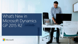 What`s New in Microsoft Dynamics GP 2015 R2
