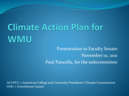 Climate Action Plan for WMU - Western Michigan University