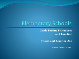 Elementary Schools Grade Posting Procedures and
