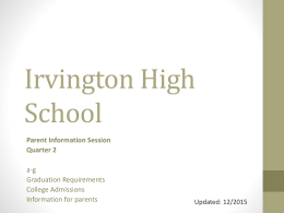 PowerPoint from 2nd Quarter Parent Information Session