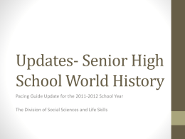 Updates- Senior High School World History