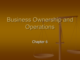 Business Ownership and Operations
