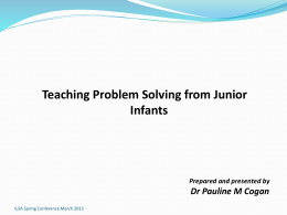 Teaching Problem Solving from Junior Infants