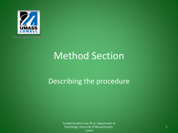 Writing a Method Section: Procedure