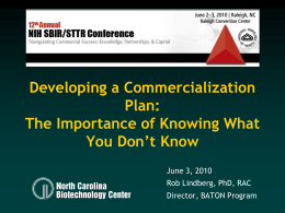 Developing a Commercialization Plan