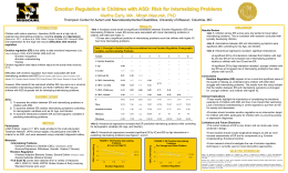 Emotion Regulation in Children with ASD: Risk for