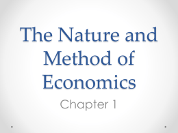 The Nature and Method of Economics