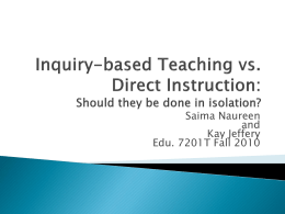 Inquiry-based Teaching vs. Direct Instruction