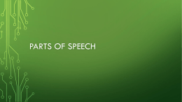 Parts of Speech Review supporting power point