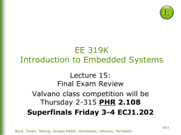 Lecture 15: Final Exam Review