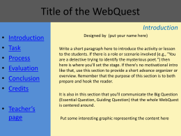 Title of the WebQuest