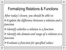 Relation Vs Function