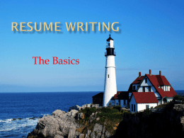 Resume Writing 101 - York College