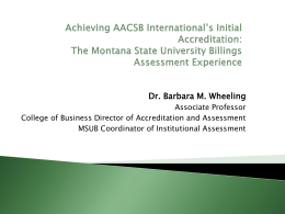 Achieving AACSB International`s Initial Accreditation