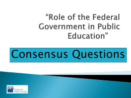 Role of the Federal Government in Public Education