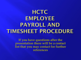 Employee Online Payroll/Timesheet Presentation