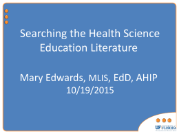 Searching the Health Science Education Literature