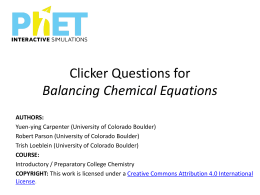 Balancing Chemical Equations - Clicker