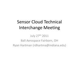 Sensor Cloud Technical Interchange Meeting