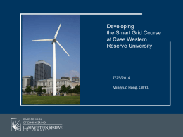 SmartGrid Course Development At CWRU