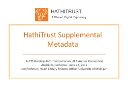 HathiTrust Supplemental Metadata