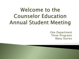 Welcome to our Annual Student Meeting of the Department of