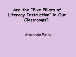 Are the Five Pillars of Literacy Instruction in Our Classrooms?