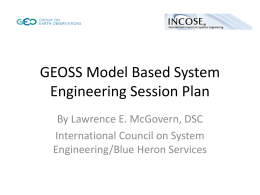 GEOSS Model Based System Engineering Session Plan