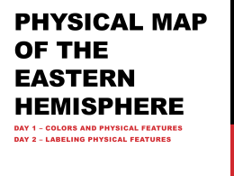 Above the map write the title for your map Physical Map of the Eastern