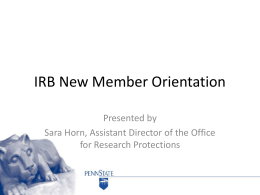 IRB New Member Orientation - Office of the Vice President for