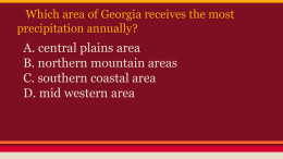 Which area of Georgia receives the most precipitation annually?