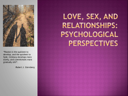 Love, Sex, and Relationships: Psychological Perspectives